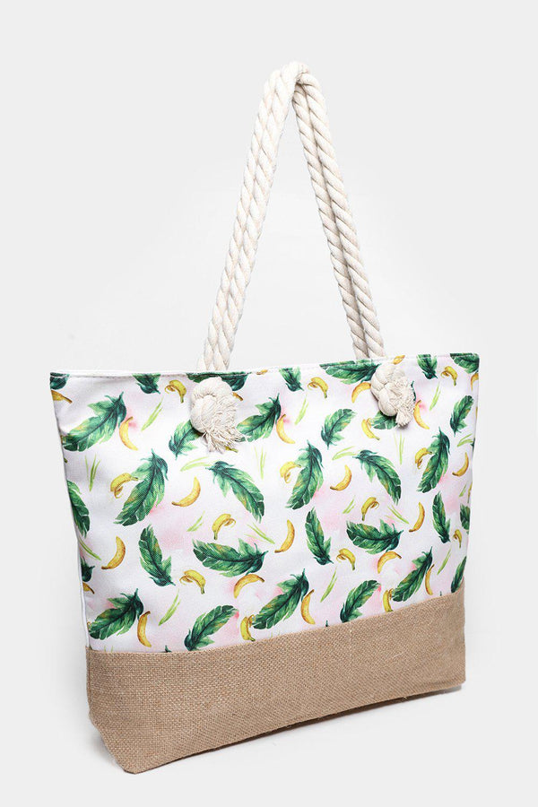 Banana Print Jute And Canvas Beach Bag-SinglePrice