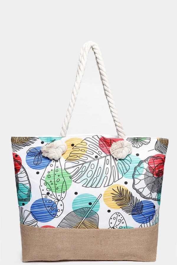 Tropical Multicolour Print Jute And Canvas Beach Bag-SinglePrice