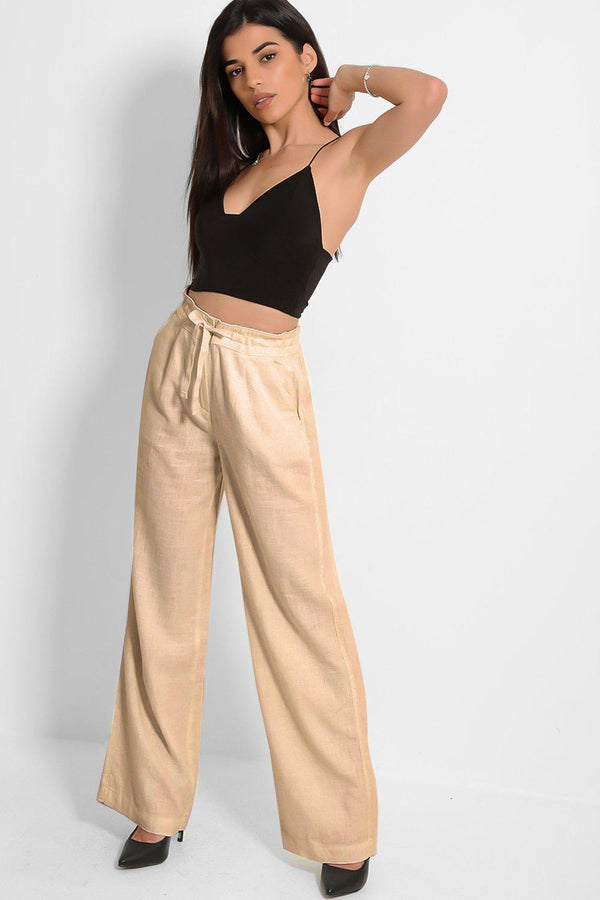 Camel Linen Blend Wide Leg Lightweight Trousers - SinglePrice