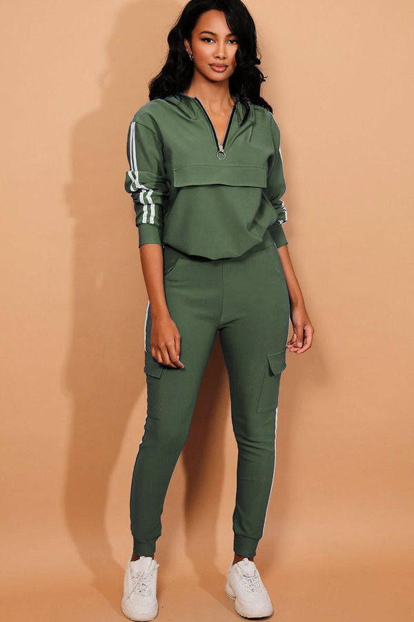 Khaki Twin Strip Faux Utility Pockets Tracksuit