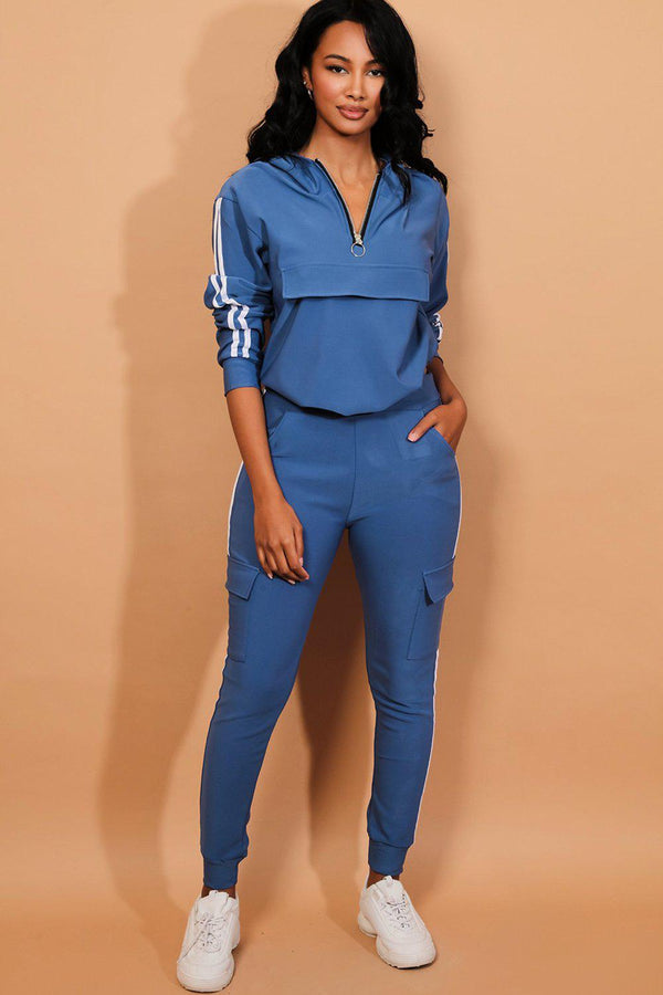 Blue Twin Strip Faux Utility Pockets Tracksuit