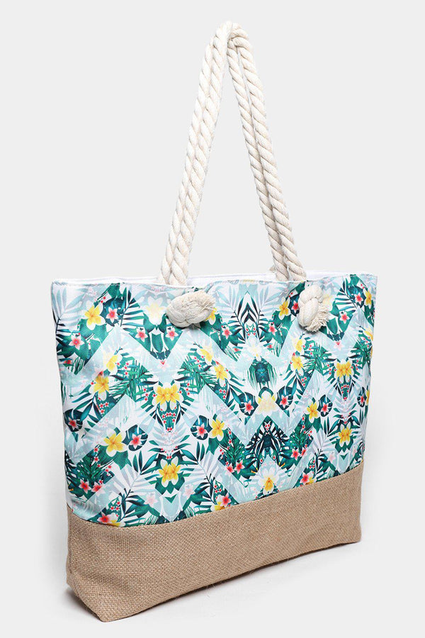 Zig Zag Floral Print Jute And Canvas Beach Bag-SinglePrice