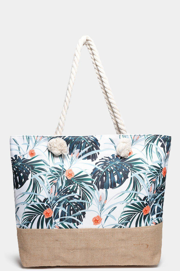 Palm Leaves Print Jute And Canvas Beach Bag-SinglePrice