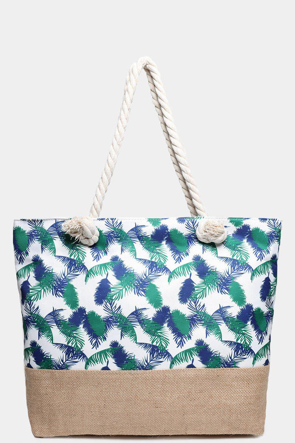 Small Palm Leaves Print Jute And Canvas Beach Bag-SinglePrice