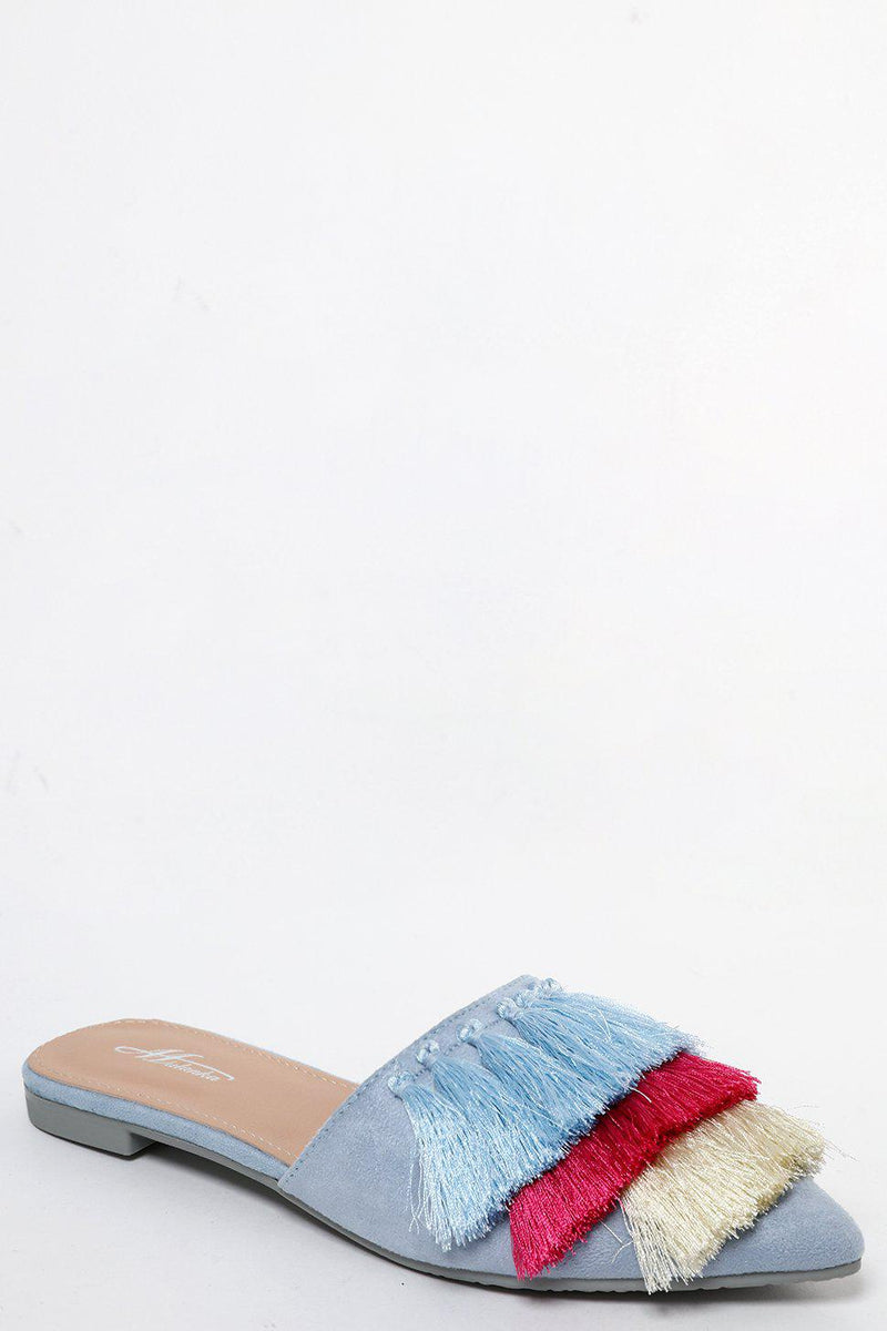Blue Pointed Slip-Ons With Coloured Tassels-SinglePrice