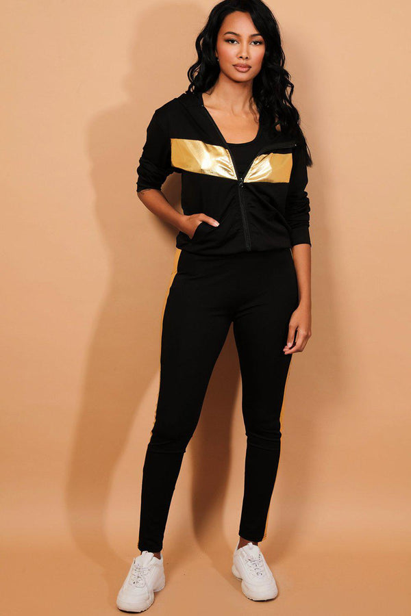 Gold Foil Panels Black 3 Piece Tracksuit