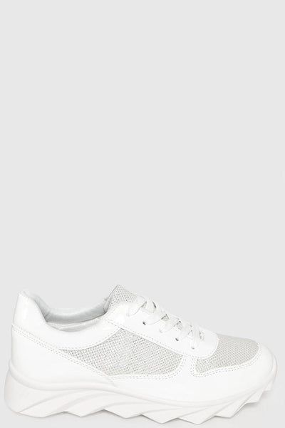 Cleated White Platform White Trainers-SinglePrice