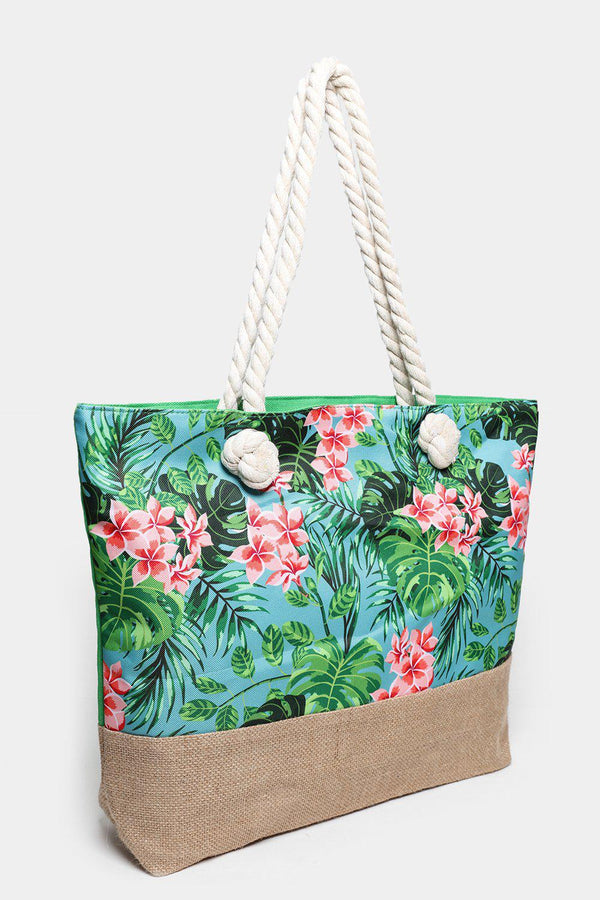 Blue And Pink Floral Print Jute And Canvas Beach Bag-SinglePrice