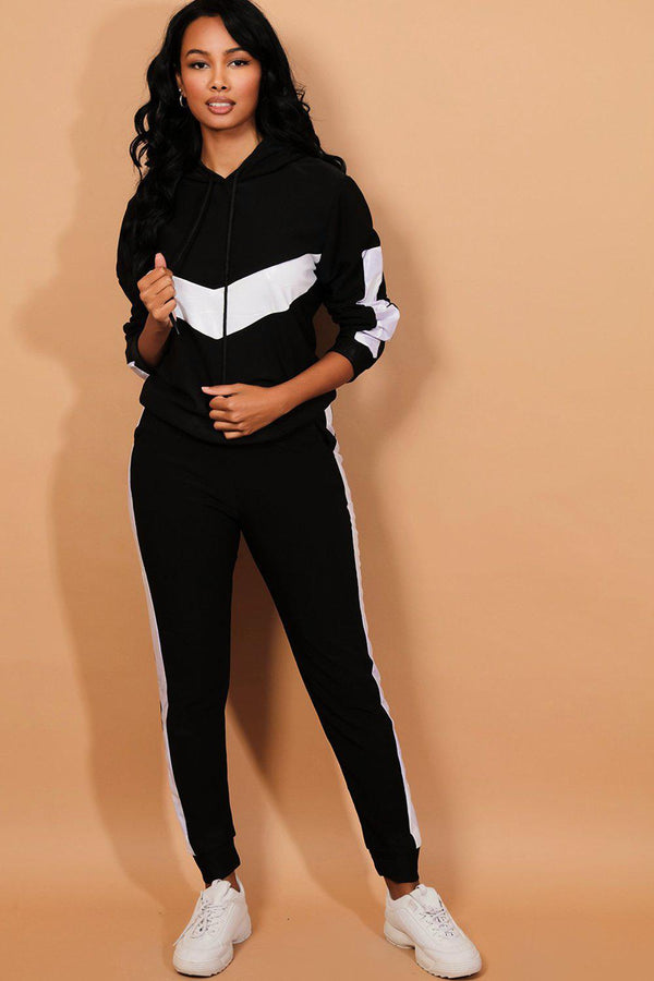 White Stripes Black Tracksuit-SinglePrice