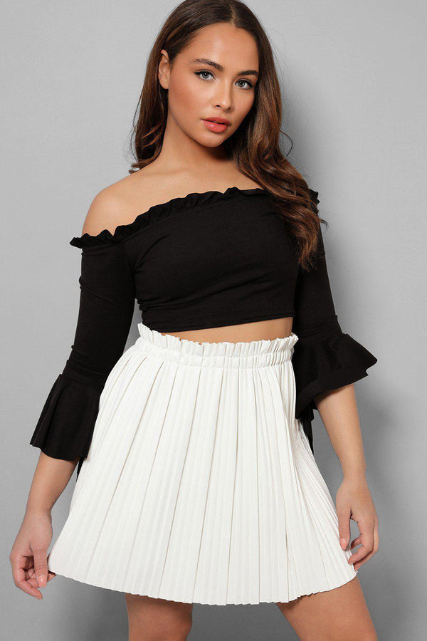 White Paperbag Waist Vegan Leather Pleated Skirt - SinglePrice