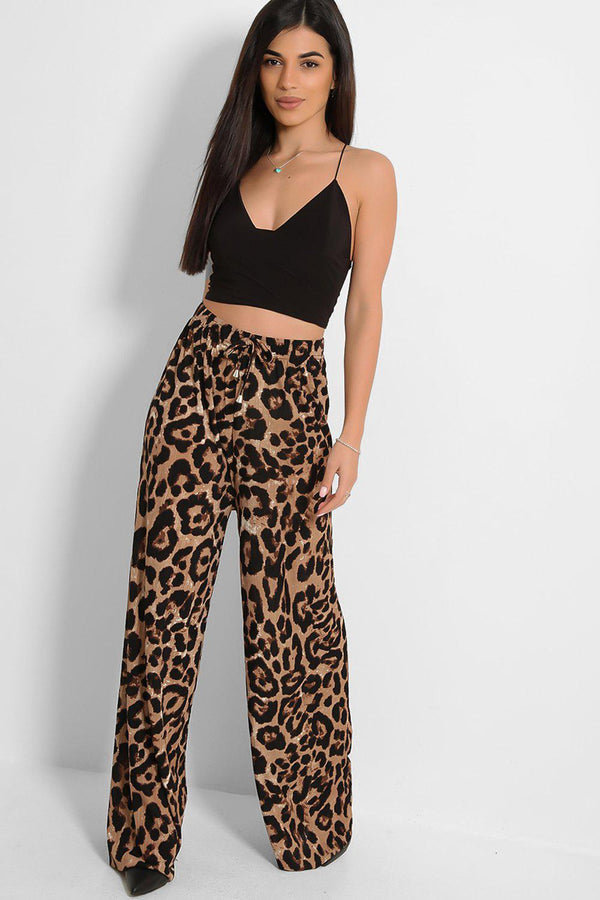 Brown Leopard Print Lightweight Wide Leg Trousers - SinglePrice