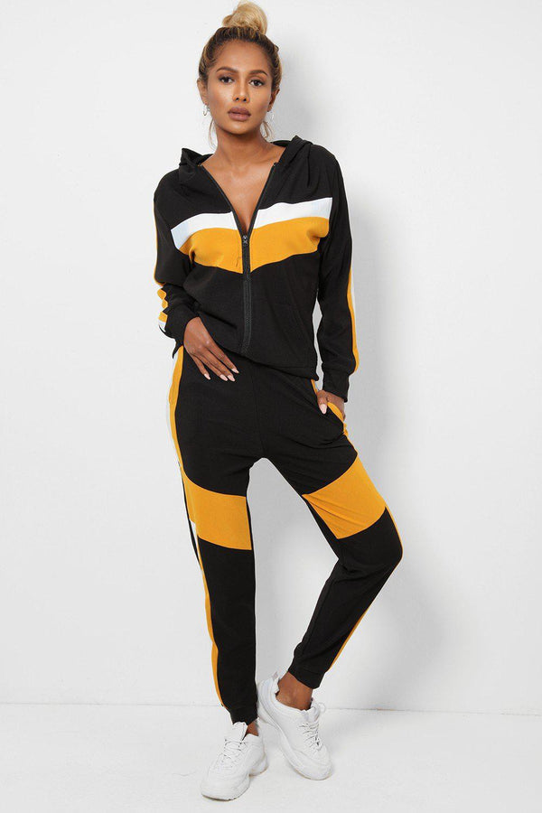 White Mustard Colour Block 2 Piece Tracksuit-SinglePrice