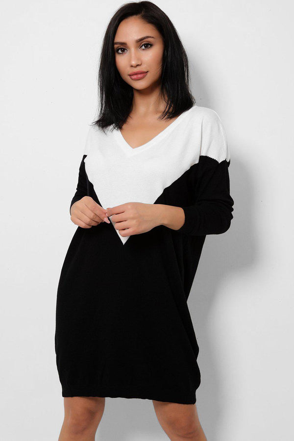 Black And White Colourblock Knitted Jumper Dress-SinglePrice