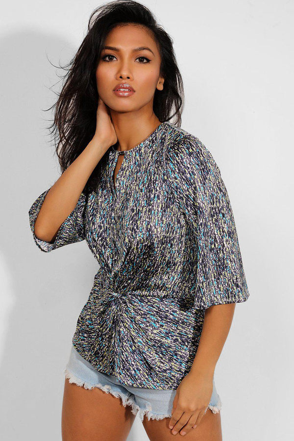 Multicolour Satin Printed Twist Front Blouse - SinglePrice