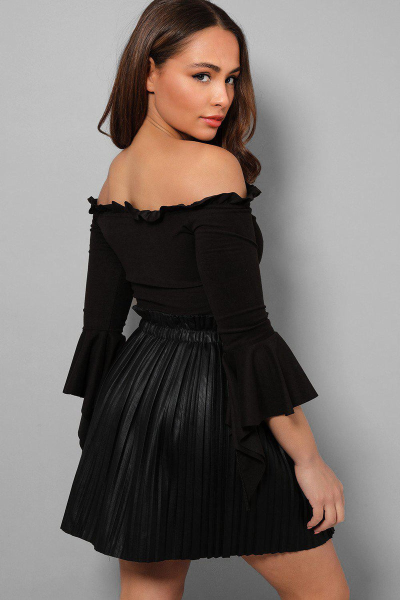 Black Paperbag Waist Vegan Leather Pleated Skirt - SinglePrice