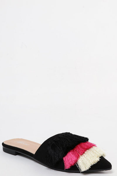Black Pointed Slip-Ons With Coloured Tassels-SinglePrice
