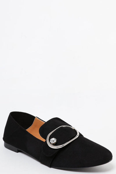 Gem Buckle Black Suedette Loafer Flats-SinglePrice