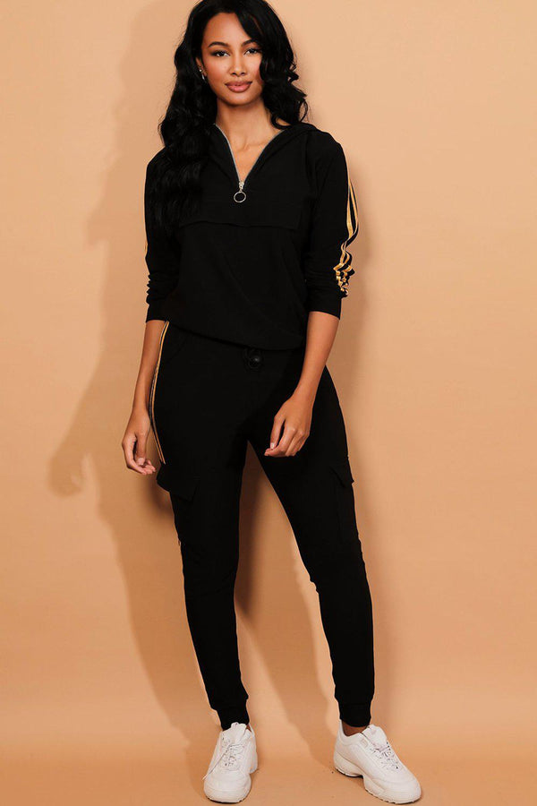 Gold Twin Stripe Black Cargo Tracksuit