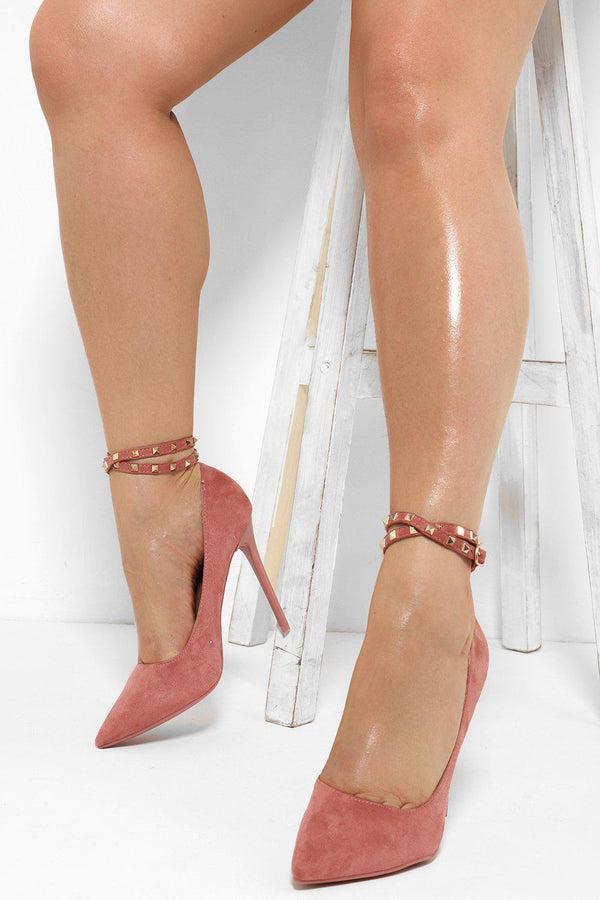 Studded Double Ankle Strap Pink Heels - SinglePrice