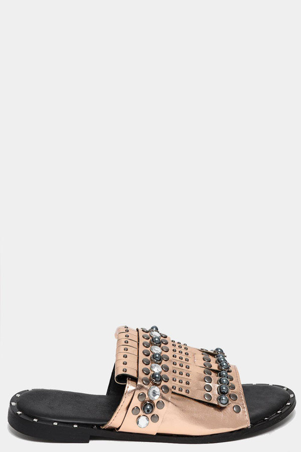 Studded Fringed Champagne Sliders-SinglePrice