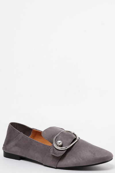 Gem Buckle Grey Suedette Loafer Flats-SinglePrice