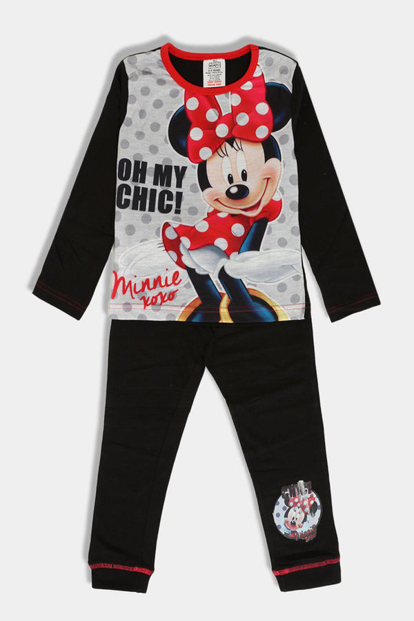 Black Grey Cartoon Mouse Print Girls Set - SinglePrice