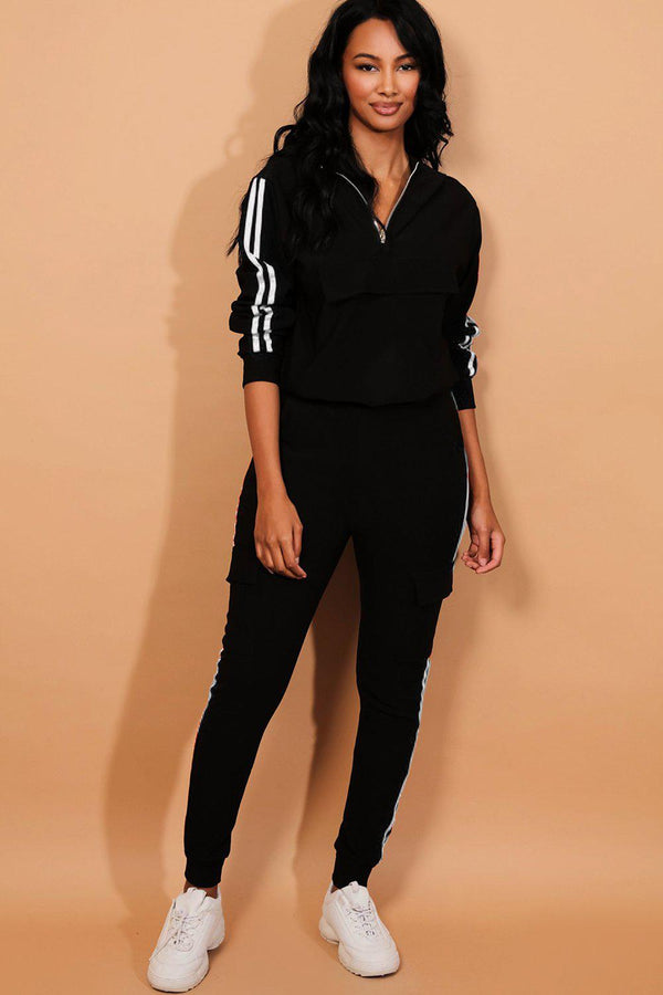 White Twin Stripe Black Cargo Tracksuit