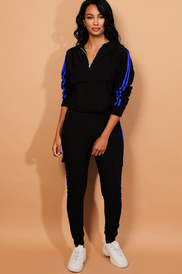 Blue Twin Stripe Black Cargo Tracksuit