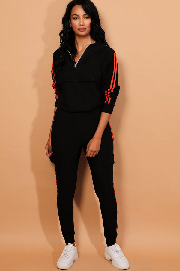 Red Twin Stripe Black Cargo Tracksuit