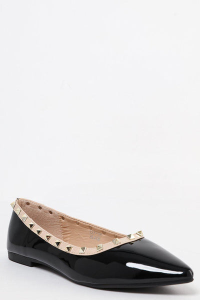 Studded Trim Black Patent Pointed Flats-SinglePrice