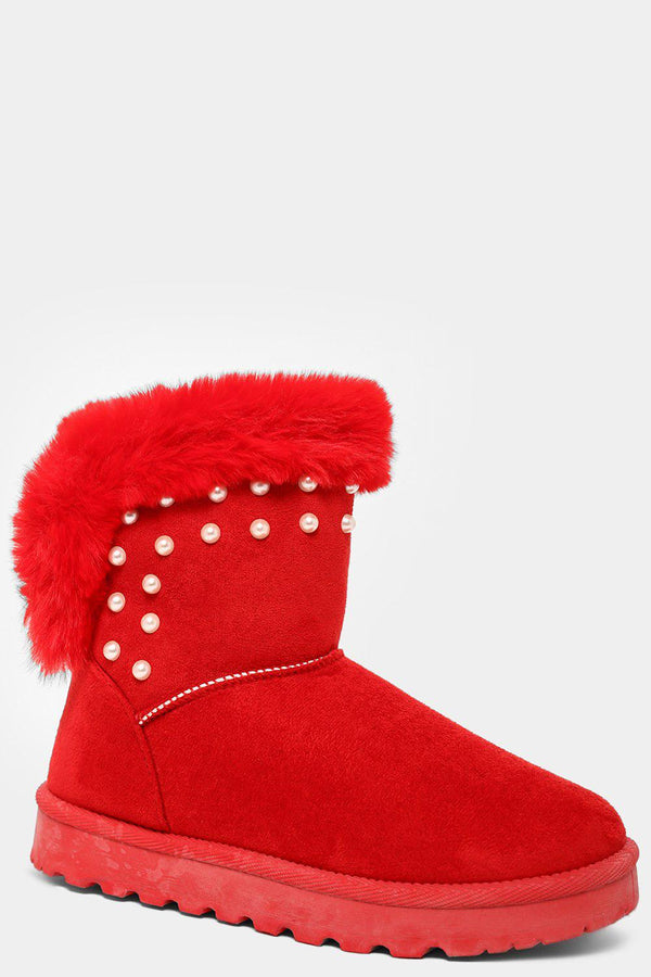 Red Pearls Embellished Faux Fur Top Warm Boots - SinglePrice