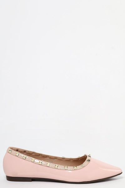 Studded Trim Pink Patent Pointed Flats-SinglePrice