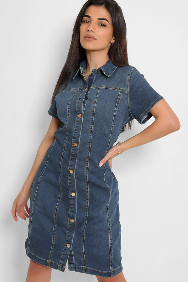 Blue Denim Button Front Details Mini Dress - SinglePrice