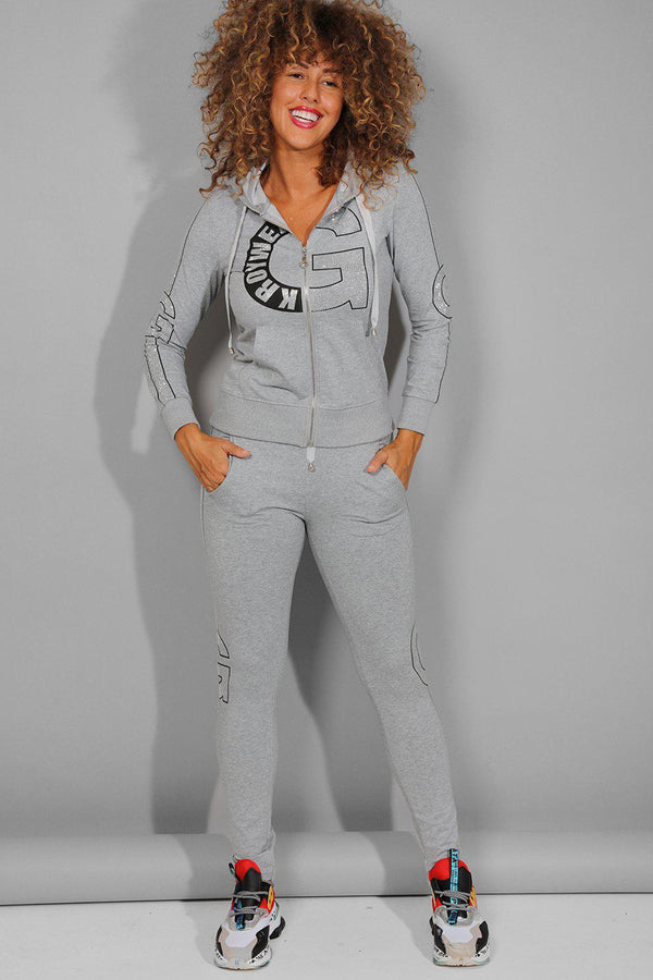 Grey Encrusted Details Hooded Tracksuit - SinglePrice
