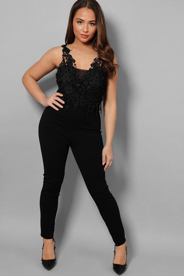 Lace Top Black Peg Leg Jumpsuit - SinglePrice