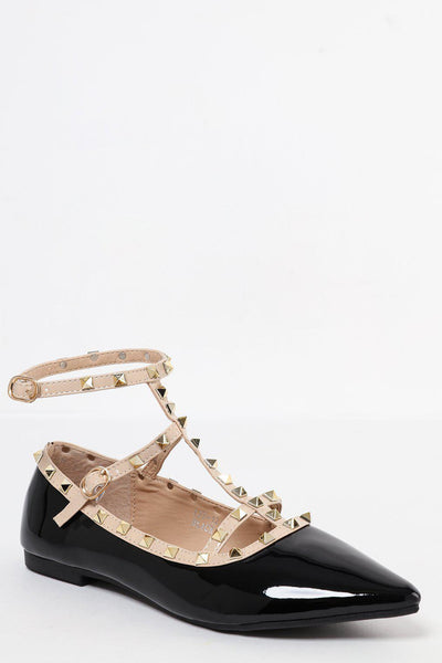 Studded Cage Anke Strap Patent Pointed Black Flats-SinglePrice