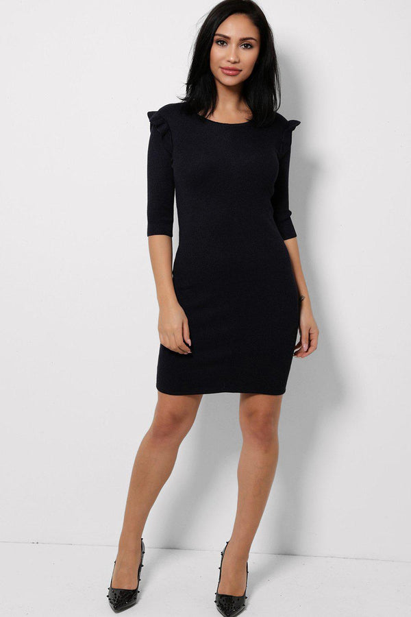Navy Frill Shoulder Knitted Dress-SinglePrice