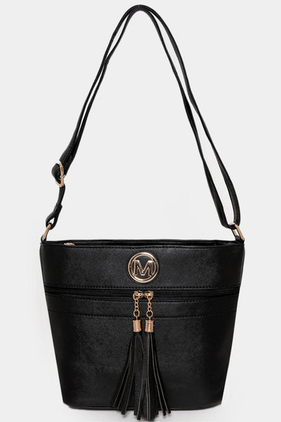 Front Tasseled Zip Black Cross Body Bag-SinglePrice