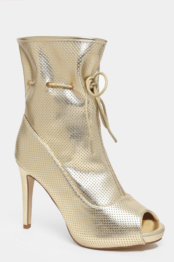 Drawstring Top Perforated Vegan Leather Gold Heels - SinglePrice