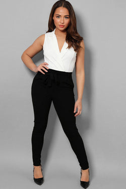 White Top Black Skinny Leg Self-Belt Jumpsuit - SinglePrice