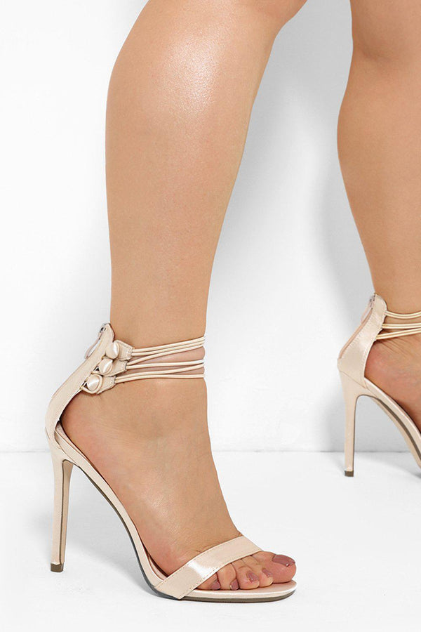 Ankle Button Straps Gold Barely There Heels - SinglePrice