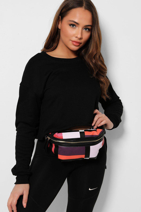 Red Plaid Old School Bumbag-SinglePrice