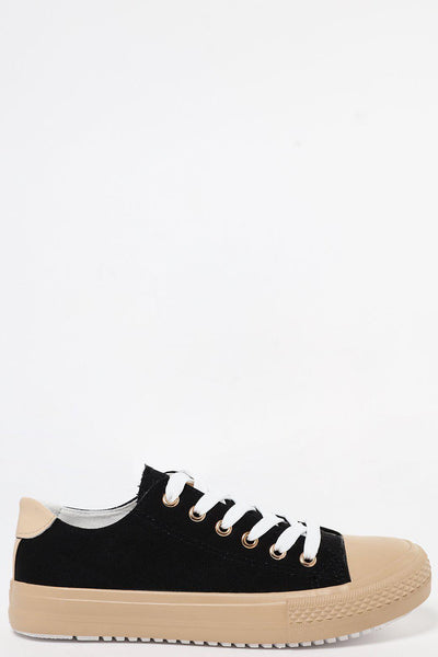 Beige Sole Black Canvas Trainers-SinglePrice