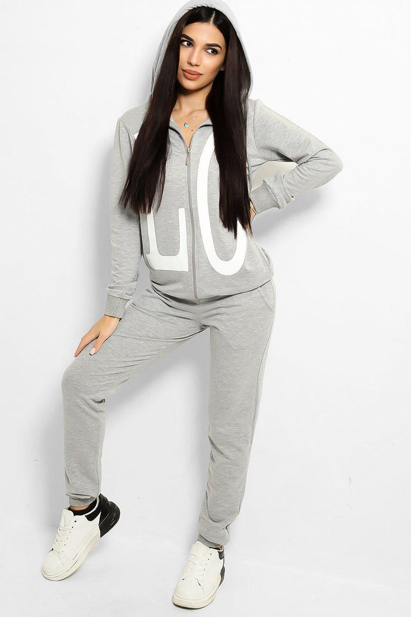 Grey Love Printed Body Front And Back Tracksuit - SinglePrice