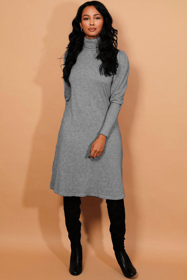 Grey Turtleneck Puff Sleeves Flat Knit Midi Dress - SinglePrice