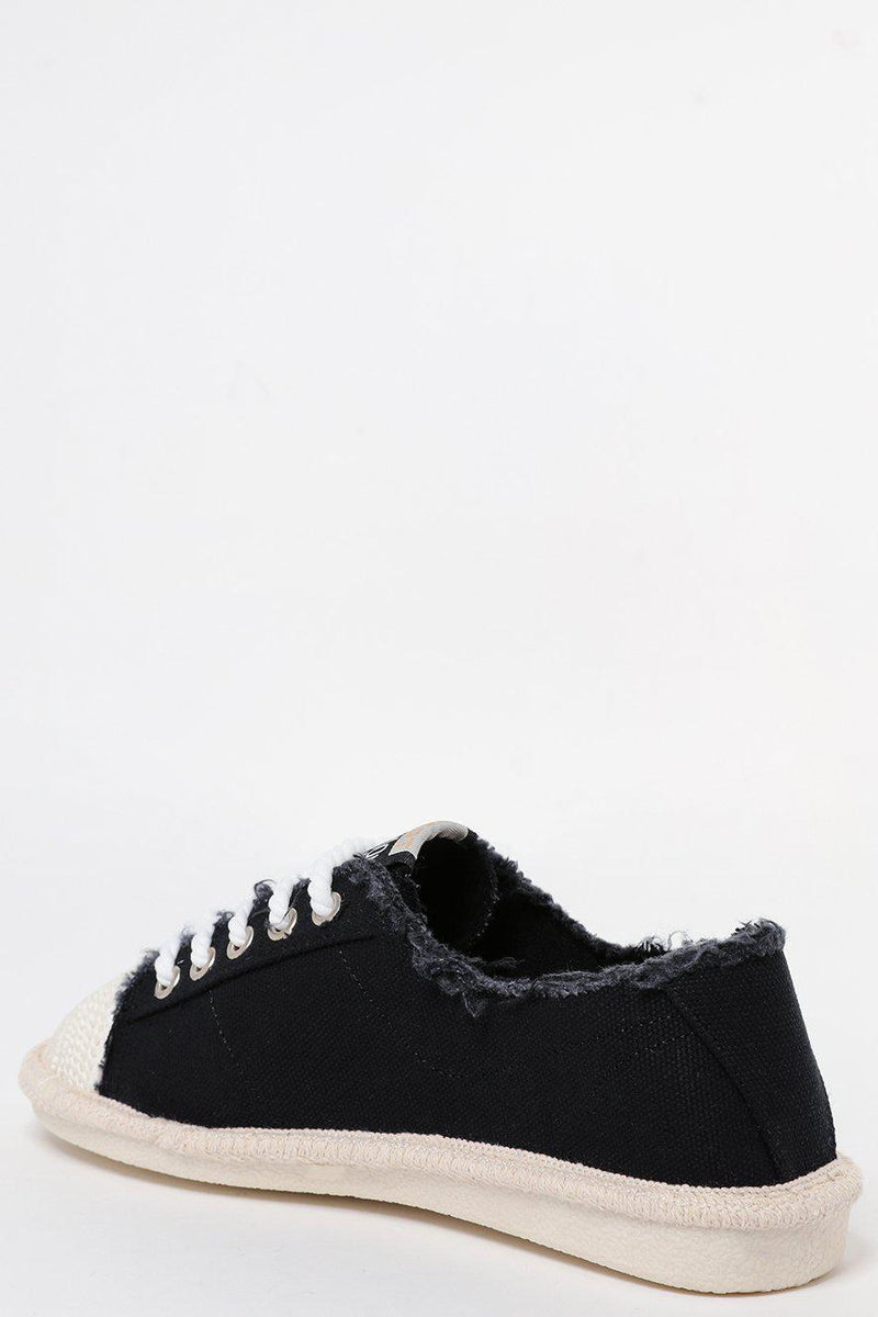 Raw Finish Espadrille Toe Cap Black Canvas Trainers - SinglePrice
