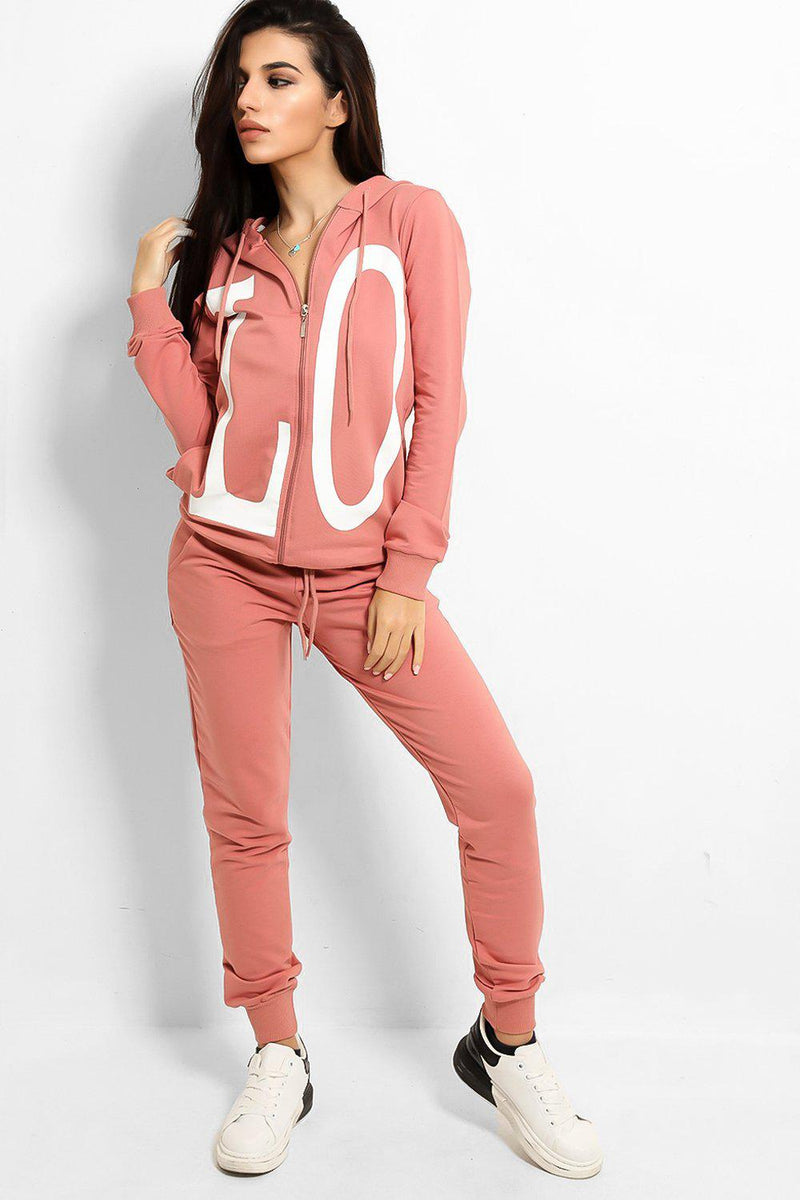 Pink Love Printed Body Front And Back Tracksuit - SinglePrice