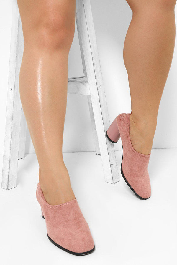 Pink Stretch Top Mid Block Heels - SinglePrice