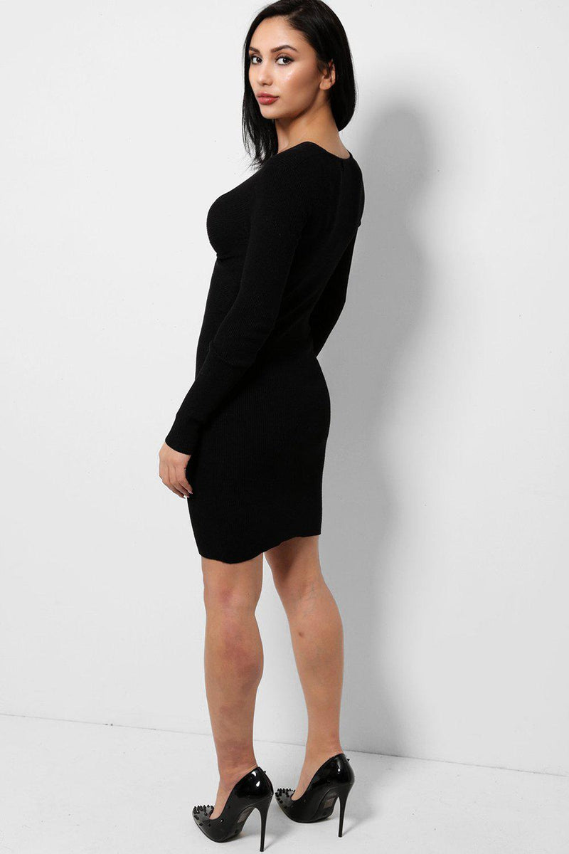 Twist Front Black Knitted Dress - SinglePrice