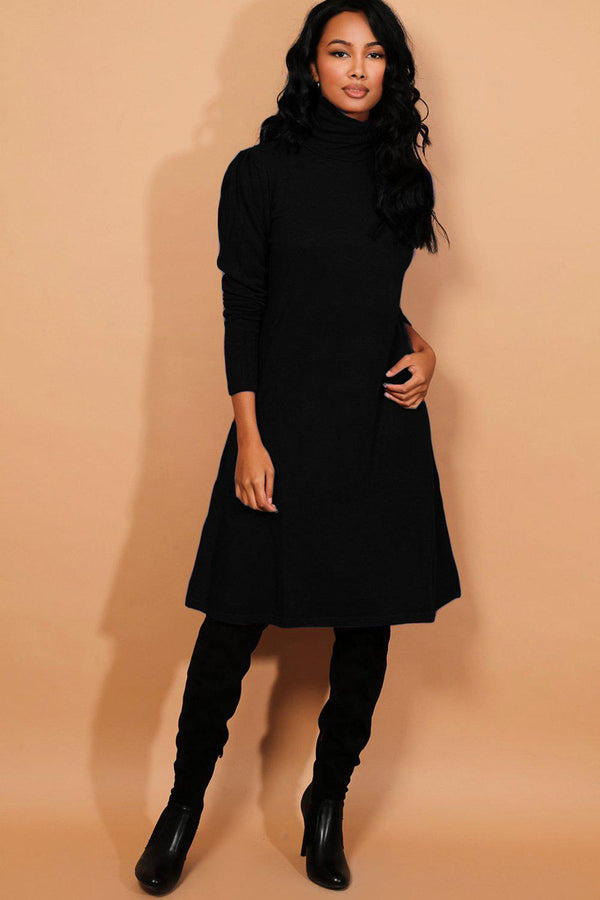Black Turtleneck Puff Sleeves Flat Knit Midi Dress - SinglePrice